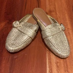 Halston Gold slip-on mule silhouette shoes